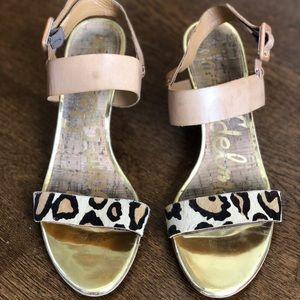 Sam Edelman Sutton Wedge Leopard Sandals 8.5